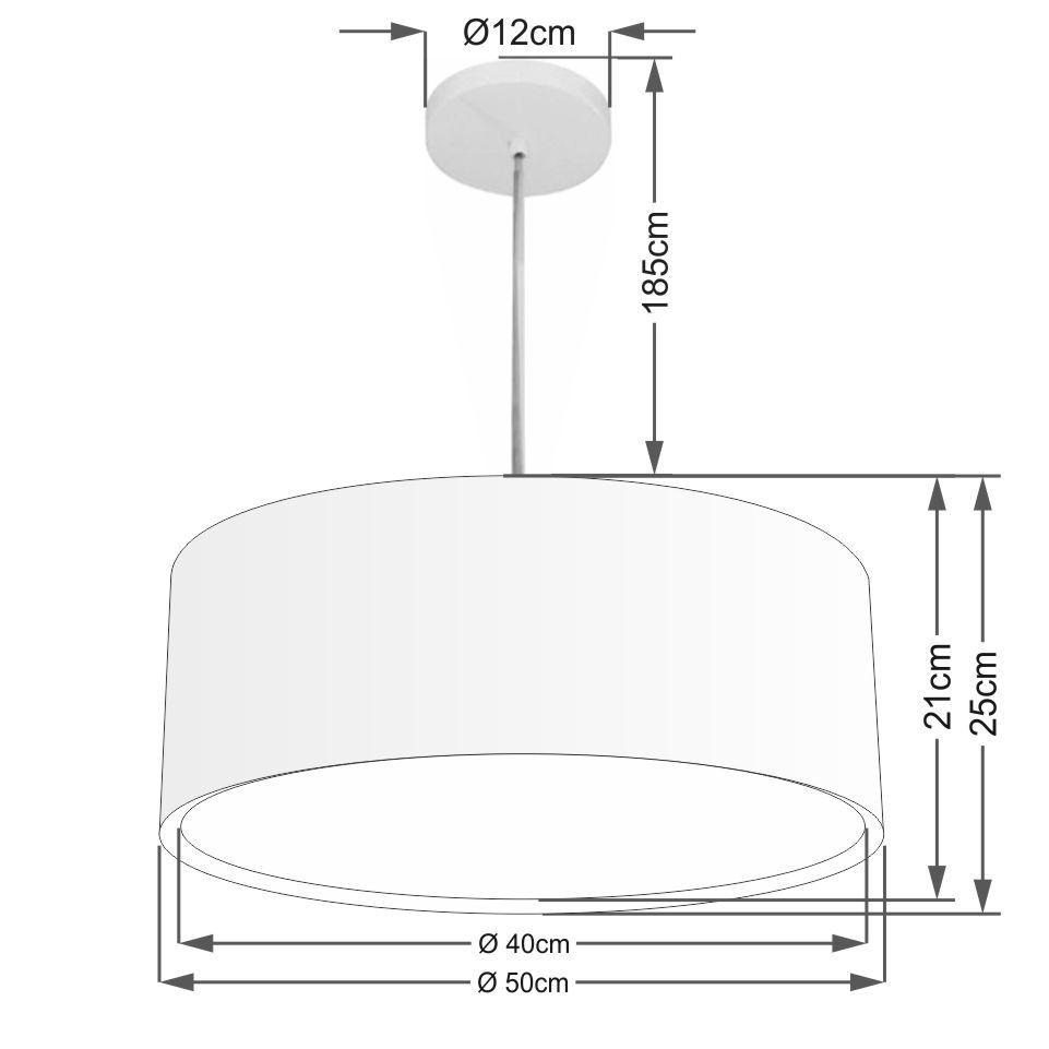 Lustre Pendente Cilíndrico Duplo Md-4294 Cúpula em Tecido 50x25cm Preto - Bivolt