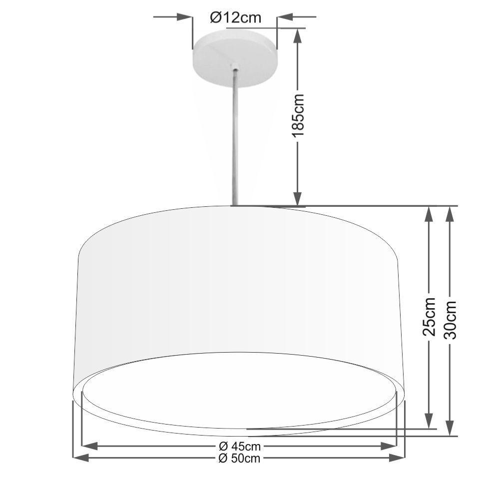 Lustre Pendente Cilíndrico Duplo Md-4295 Cúpula em Tecido 50x30cm Preto - Bivolt