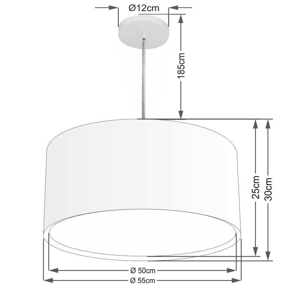 Lustre Pendente Cilíndrico Duplo Md-4296 Cúpula em Tecido 55x30cm Algodão Crú - Bivolt