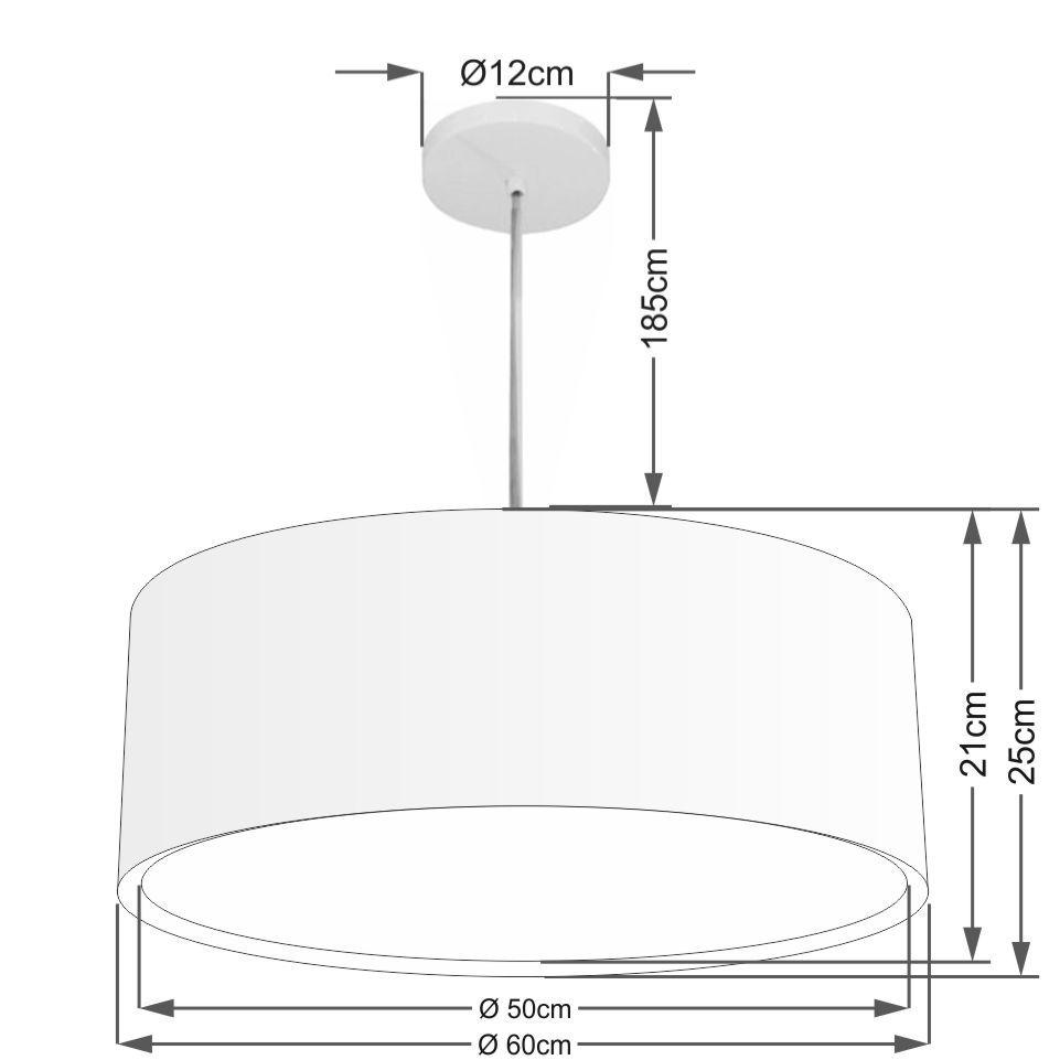 Lustre Pendente Cilíndrico Duplo Md-4297 Cúpula em Tecido 60x25cm Preto - Bivolt