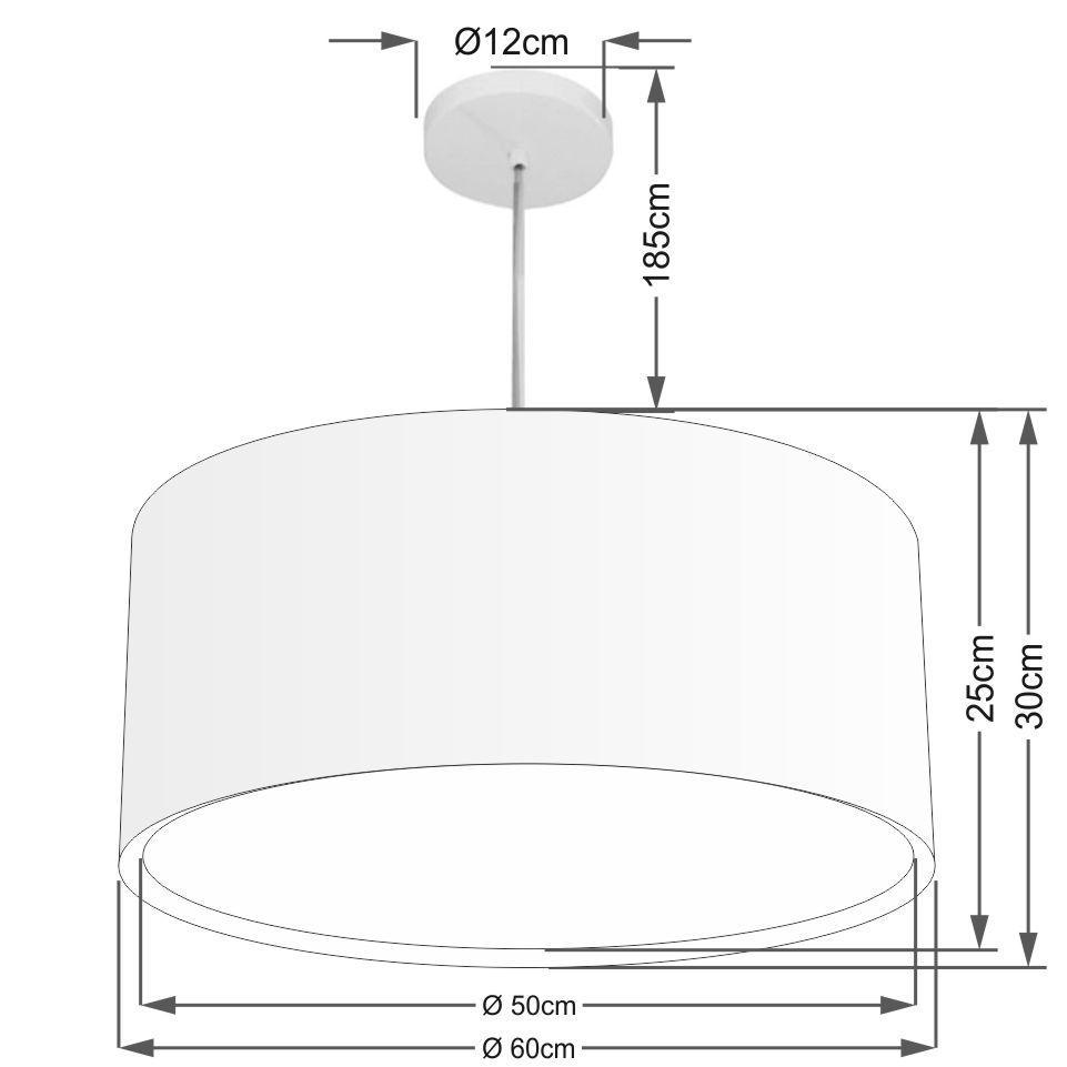 Lustre Pendente Cilíndrico Duplo Md-4298 Cúpula em Tecido 60x30cm Algodão Crú - Bivolt