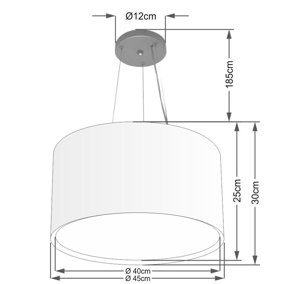 Lustre Pendente Cilíndrico Duplo Md-4299 Cúpula em Tecido 45x30cm Palha - Bivolt