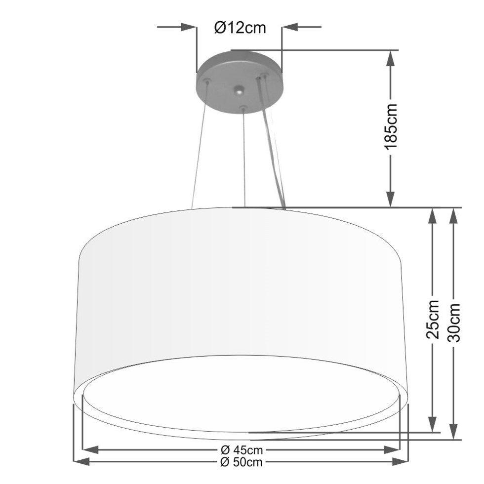 Lustre Pendente Cilíndrico Duplo Md-4300 Cúpula em Tecido 50x30cm Algodão Crú - Bivolt