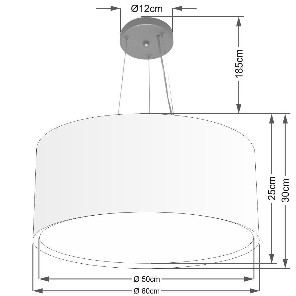 Lustre Pendente Cilíndrico Duplo Md-4302 Cúpula em Tecido 60x30cm Preto - Bivolt