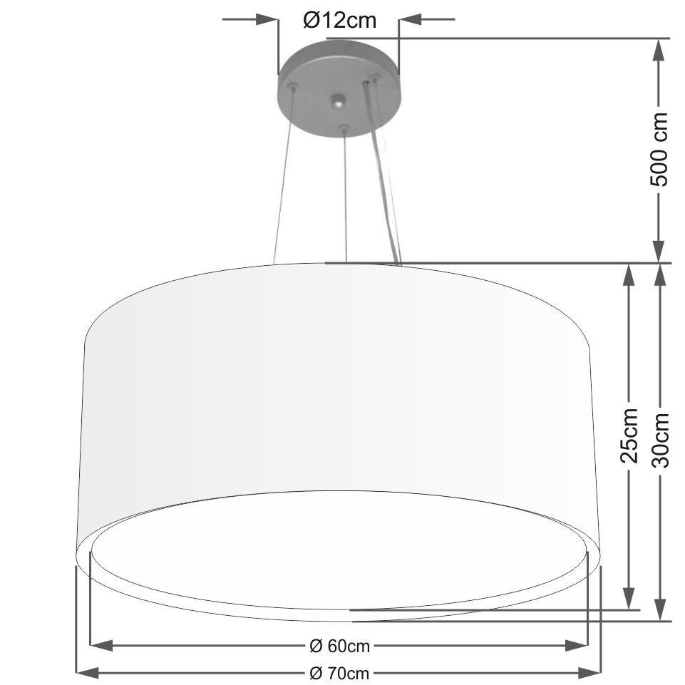 Lustre Pendente Cilíndrico Duplo Md-4303 Cúpula em Tecido 70x30cm Algodão Crú - Bivolt