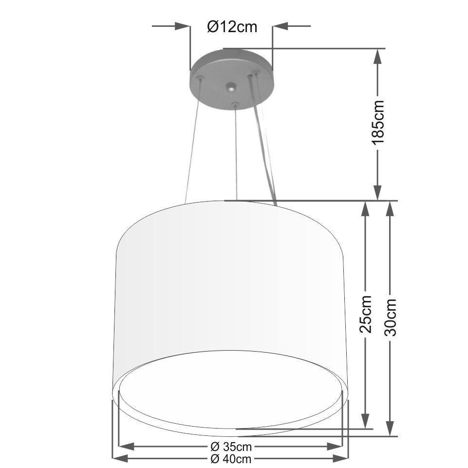 Lustre Pendente Cilíndrico Duplo Md-4304 Cúpula em Tecido 40x30cm Preto - Bivolt