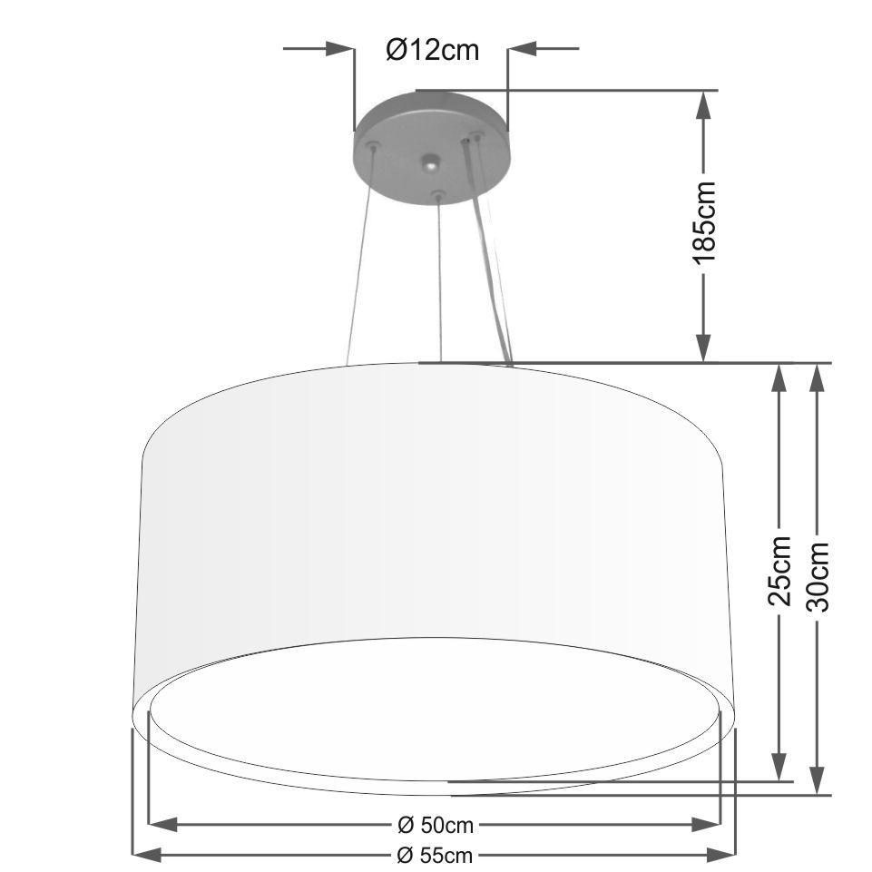 Lustre Pendente Cilíndrico Duplo Vivare Md-4301 Cúpula em Tecido 55x30cm - Bivolt