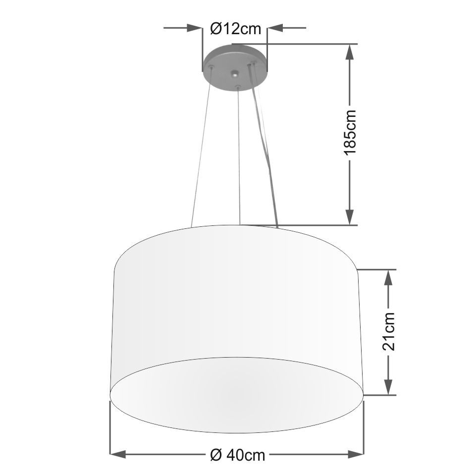 Lustre Pendente Cilíndrico Md-4009 Cúpula em Tecido 40x21cm Branco - Bivolt