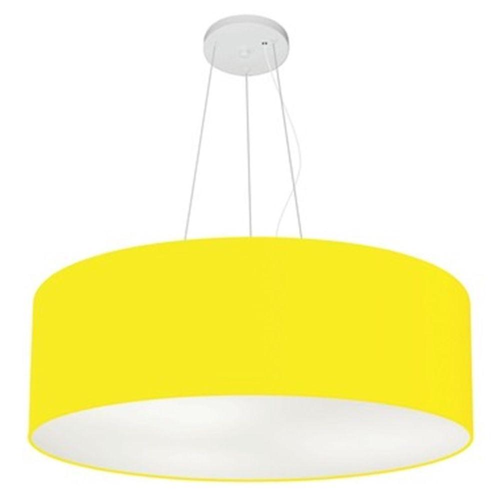 Lustre Pendente Cilíndrico Md-4010 Cúpula em Tecido 60x21cm Amarelo - Bivolt