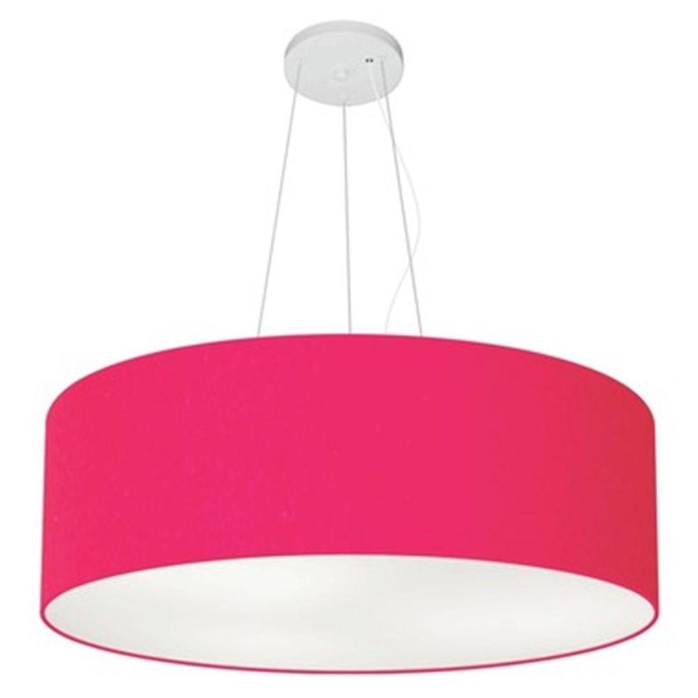 Lustre Pendente Cilíndrico Md-4010 Cúpula em Tecido 60x21cm Rosa Pink - Bivolt