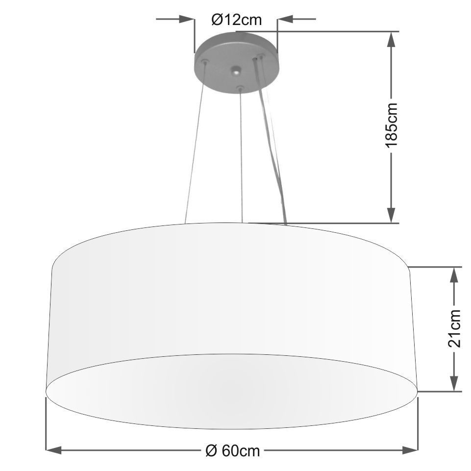 Lustre Pendente Cilíndrico Md-4010 Cúpula em Tecido 60x21cm Preto - Bivolt
