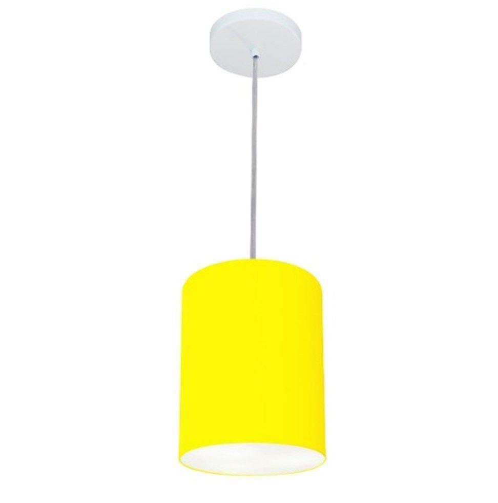 Lustre Pendente Cilíndrico Md-4012 Cúpula em Tecido 18x25cm Amarelo - Bivolt