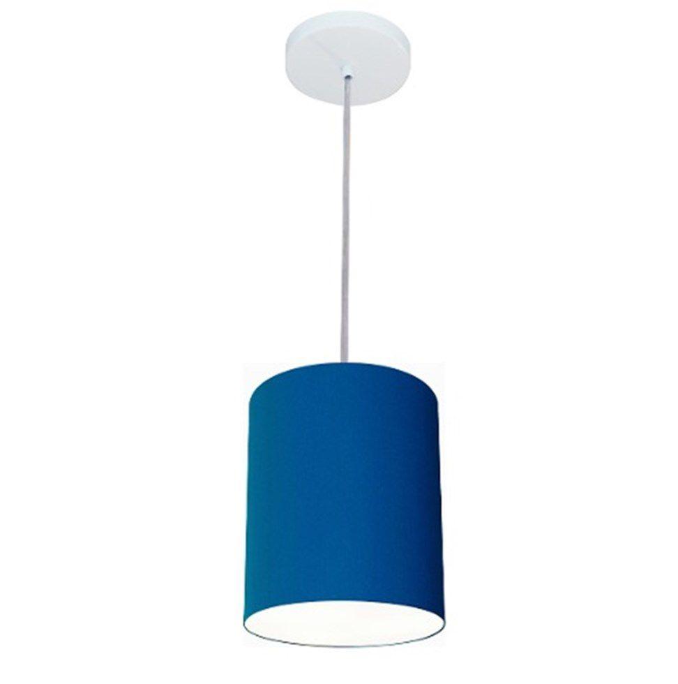 Lustre Pendente Cilíndrico Md-4012 Cúpula em Tecido 18x25cm Azul Marinho - Bivolt
