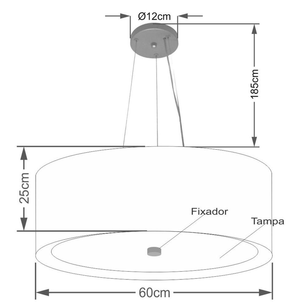 Lustre Pendente Cilíndrico Md-4013 Cúpula Forrada em Tecido 60x25cm Preto / Branco - Bivolt