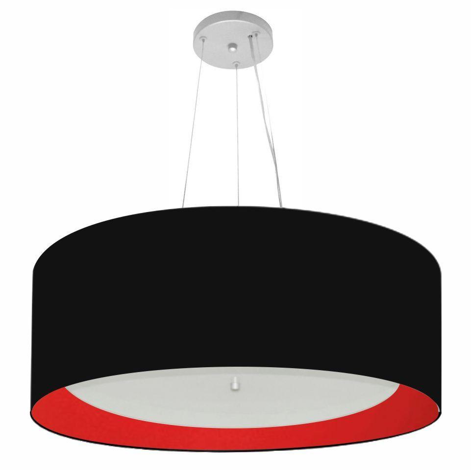 Lustre Pendente Cilíndrico Md-4013 Cúpula Forrada em Tecido 60x25cm Preto / Vermelho - Bivolt