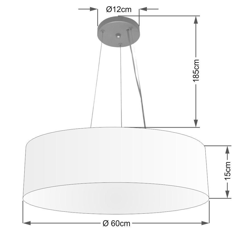 Lustre Pendente Cilíndrico Md-4029 Cúpula em Tecido 60x15cm Branco - Bivolt