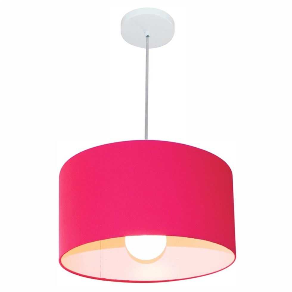 Lustre Pendente Cilíndrico Md-4031 Cúpula em Tecido 40x21cm Rosa Pink - Bivolt