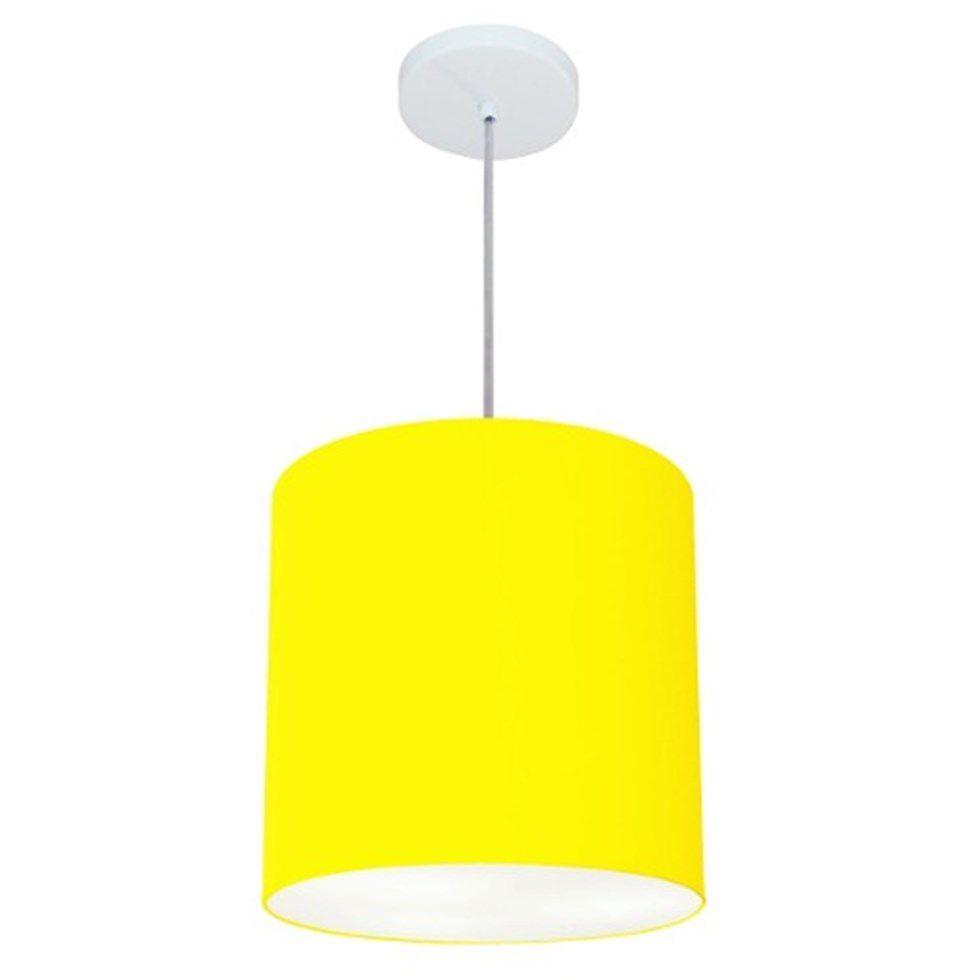 Lustre Pendente Cilíndrico Md-4036 Cúpula em Tecido 30x31cm Amarelo - Bivolt