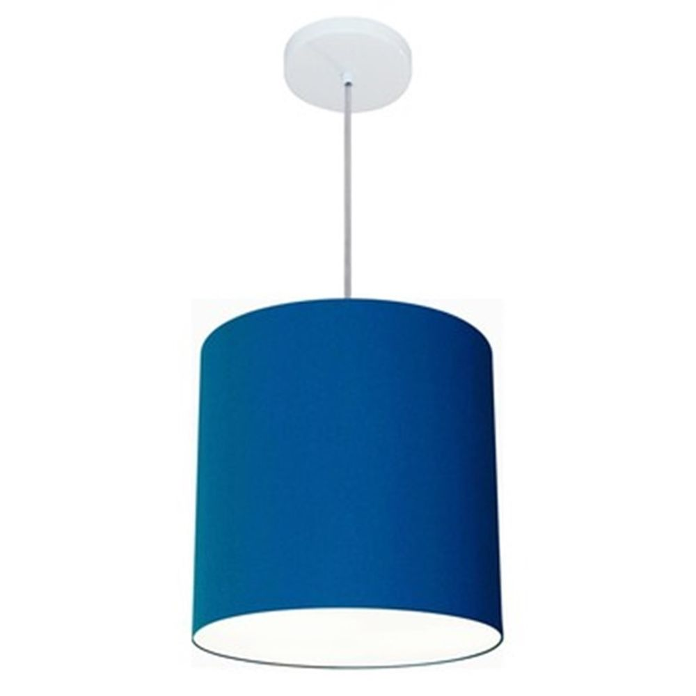 Lustre Pendente Cilíndrico Md-4036 Cúpula em Tecido 30x31cm Azul Marinho - Bivolt