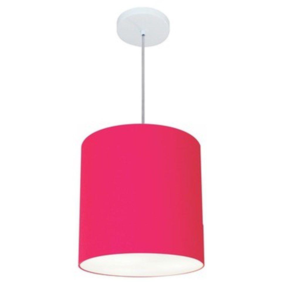 Lustre Pendente Cilíndrico Md-4036 Cúpula em Tecido 30x31cm Rosa Pink - Bivolt
