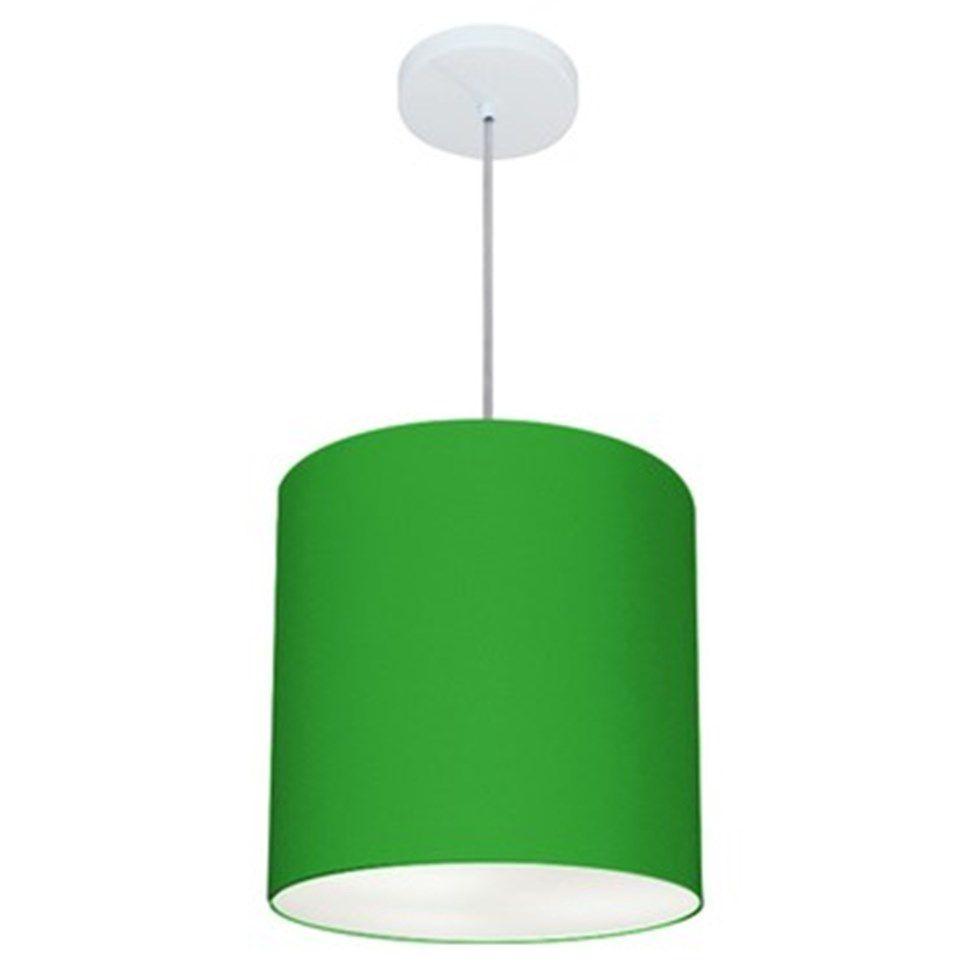 Lustre Pendente Cilíndrico Md-4036 Cúpula em Tecido 30x31cm Verde Folha - Bivolt