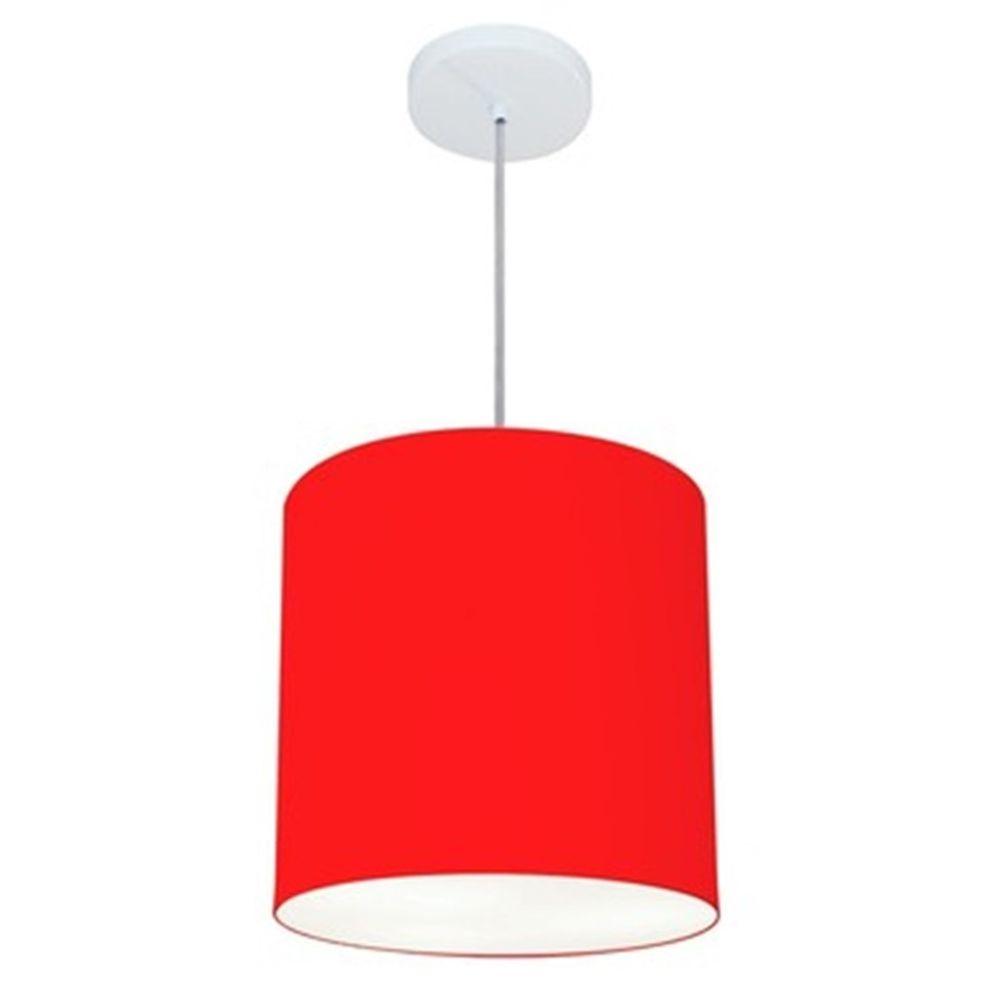 Lustre Pendente Cilíndrico Md-4036 Cúpula em Tecido 30x31cm Vermelho - Bivolt