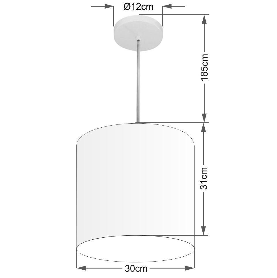 Lustre Pendente Cilíndrico Md-4036 Cúpula em Tecido 30x31cm Algodão Crú - Bivolt