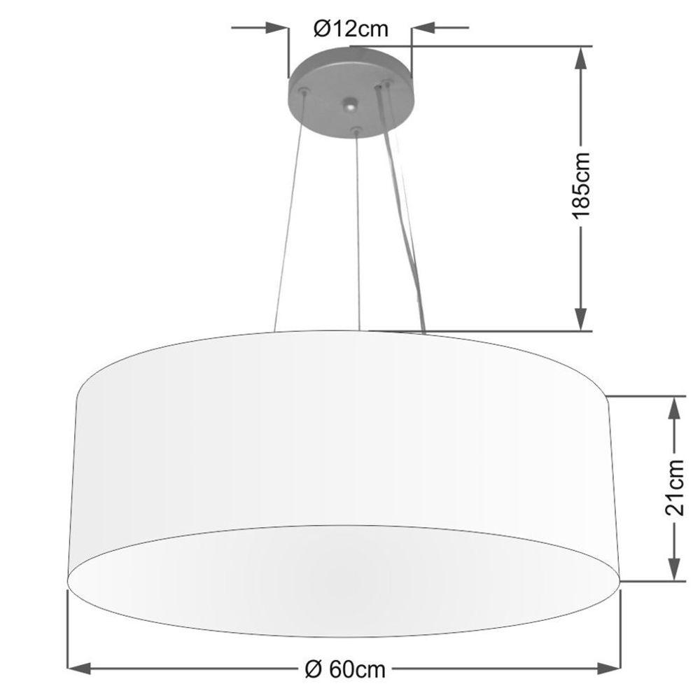Lustre Pendente Cilíndrico Md-4038 Cúpula em Tecido 60x21cm Branco - Bivolt