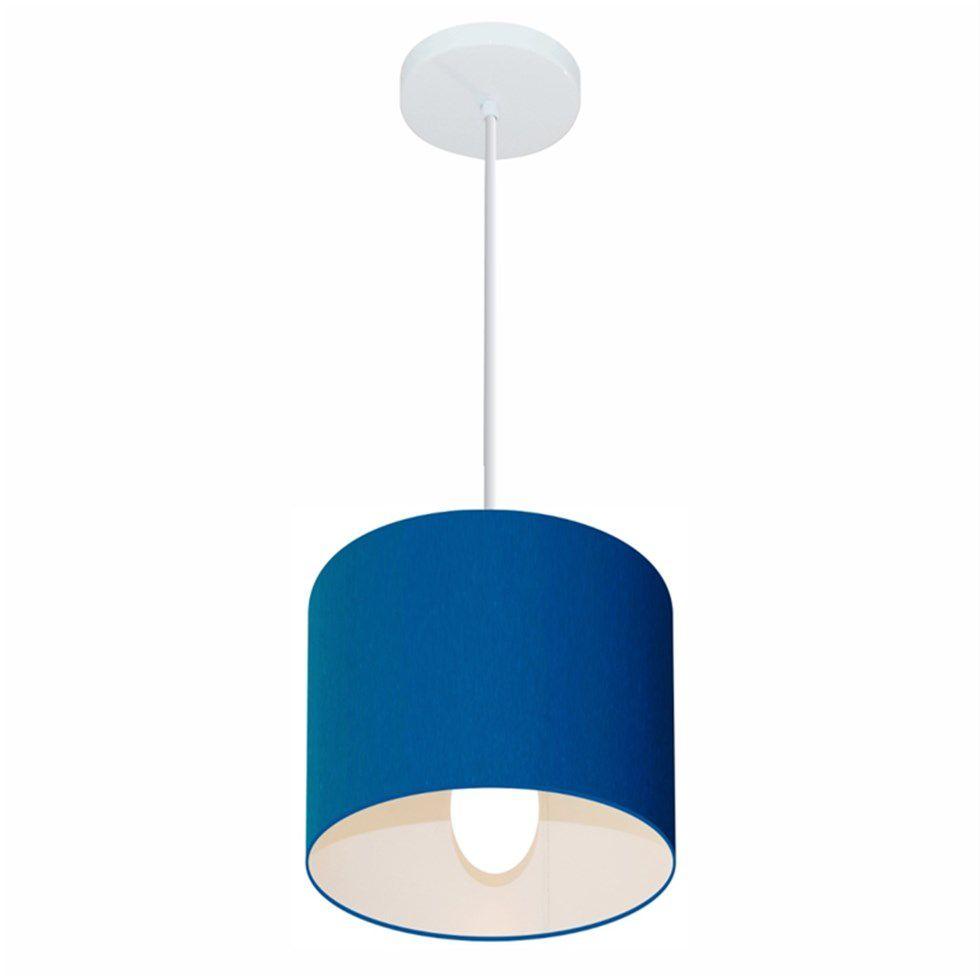 Lustre Pendente Cilíndrico Md-4046 Cúpula em Tecido 18x18cm Azul Marinho - Bivolt