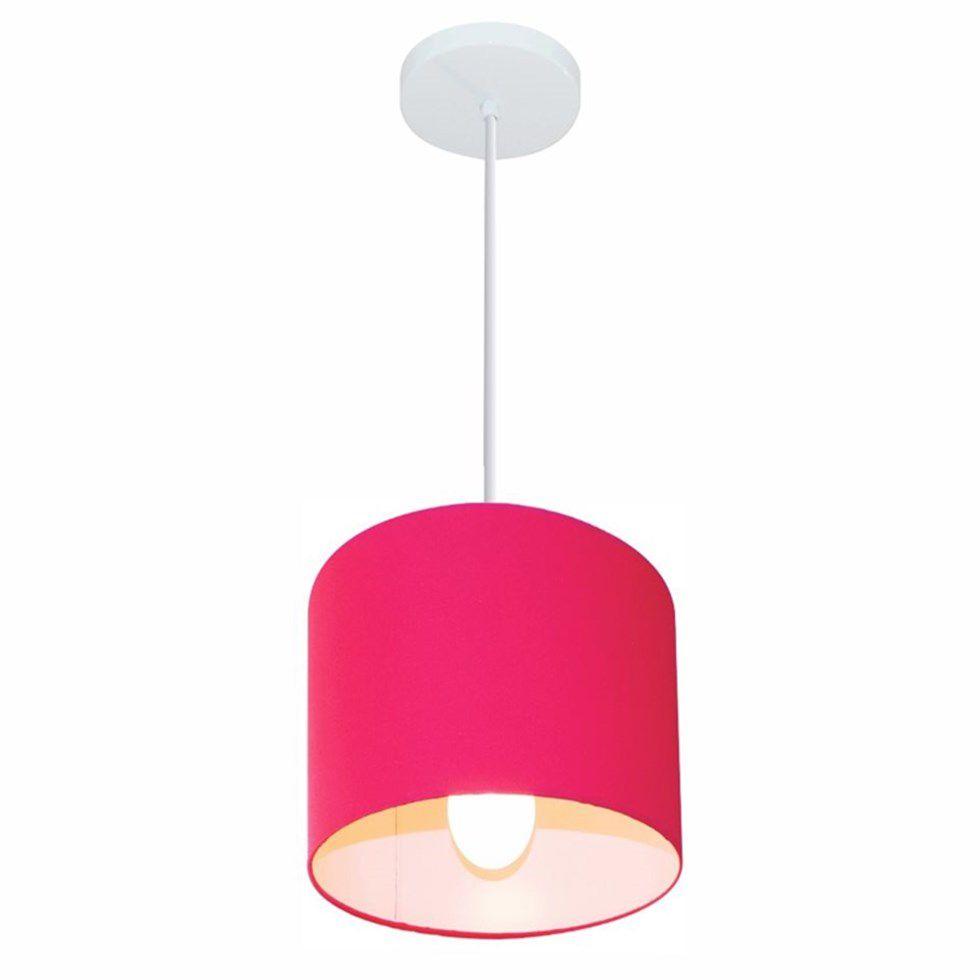 Lustre Pendente Cilíndrico Md-4046 Cúpula em Tecido 18x18cm Rosa Pink - Bivolt