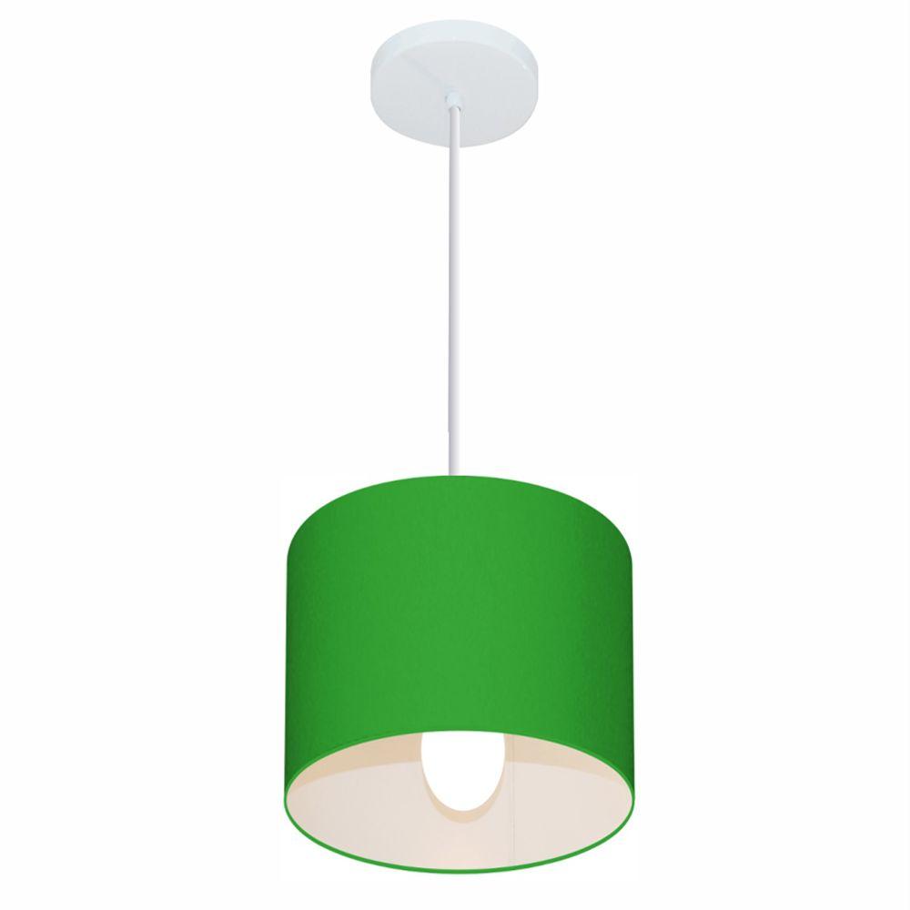 Lustre Pendente Cilíndrico Md-4046 Cúpula em Tecido 18x18cm Verde Folha - Bivolt