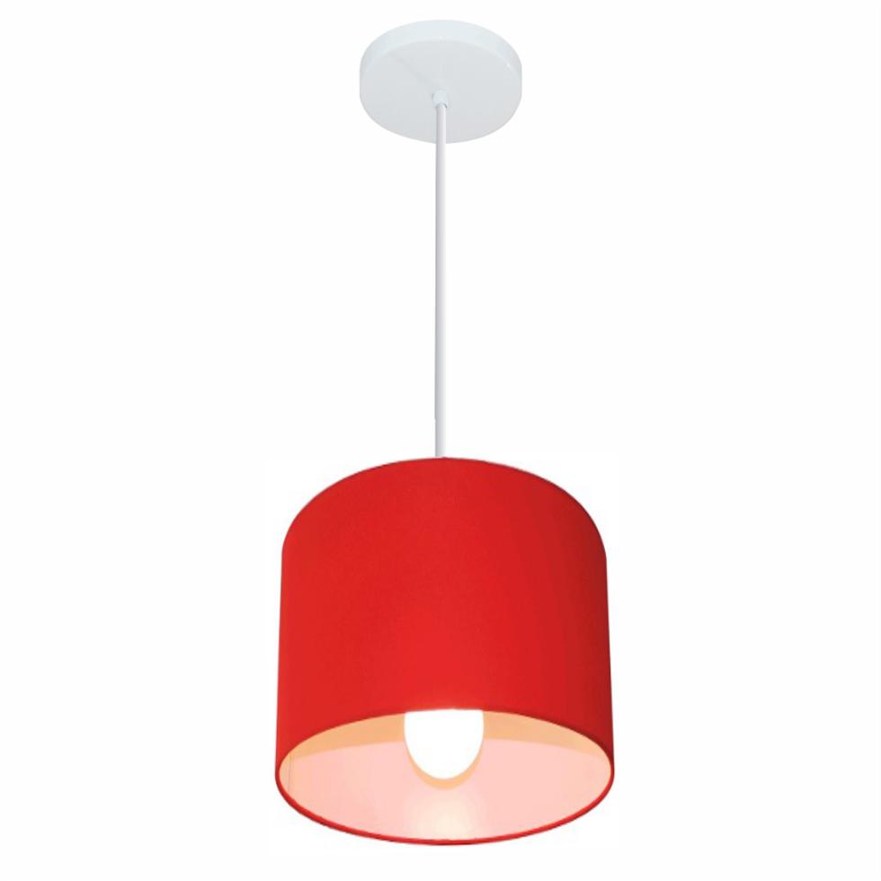 Lustre Pendente Cilíndrico Md-4046 Cúpula em Tecido 18x18cm Vermelho - Bivolt