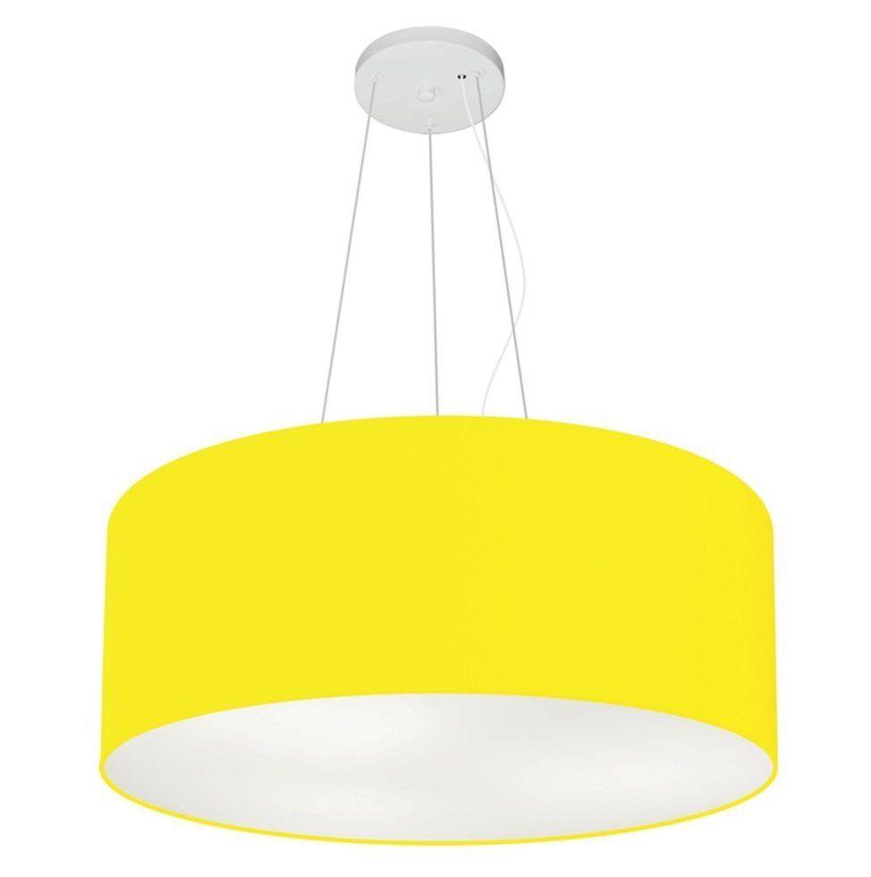 Lustre Pendente Cilíndrico Md-4047 Cúpula em Tecido 50x21cm Amarelo - Bivolt