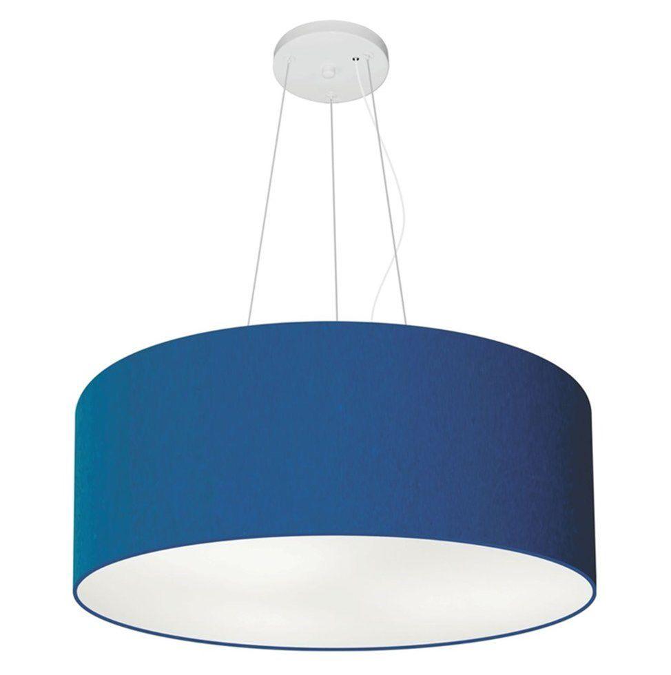 Lustre Pendente Cilíndrico Md-4047 Cúpula em Tecido 50x21cm Azul Marinho - Bivolt