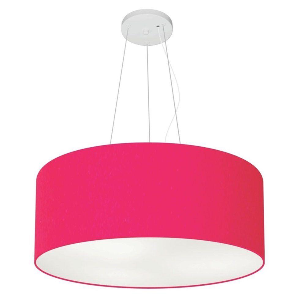 Lustre Pendente Cilíndrico Md-4047 Cúpula em Tecido 50x21cm Rosa Pink - Bivolt