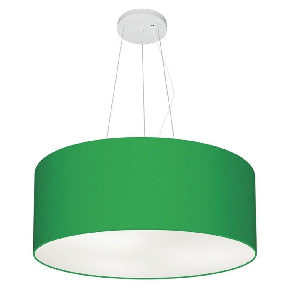 Lustre Pendente Cilíndrico Md-4047 Cúpula em Tecido 50x21cm Verde Folha - Bivolt