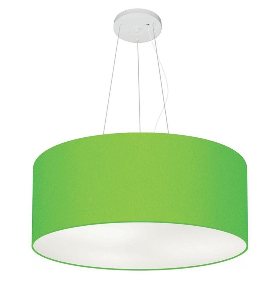 Lustre Pendente Cilíndrico Md-4047 Cúpula em Tecido 50x21cm Verde Limão - Bivolt