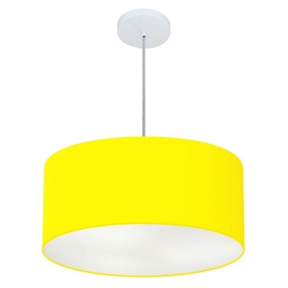 Lustre Pendente Cilíndrico Md-4049 Cúpula em Tecido 50x21cm Amarelo - Bivolt