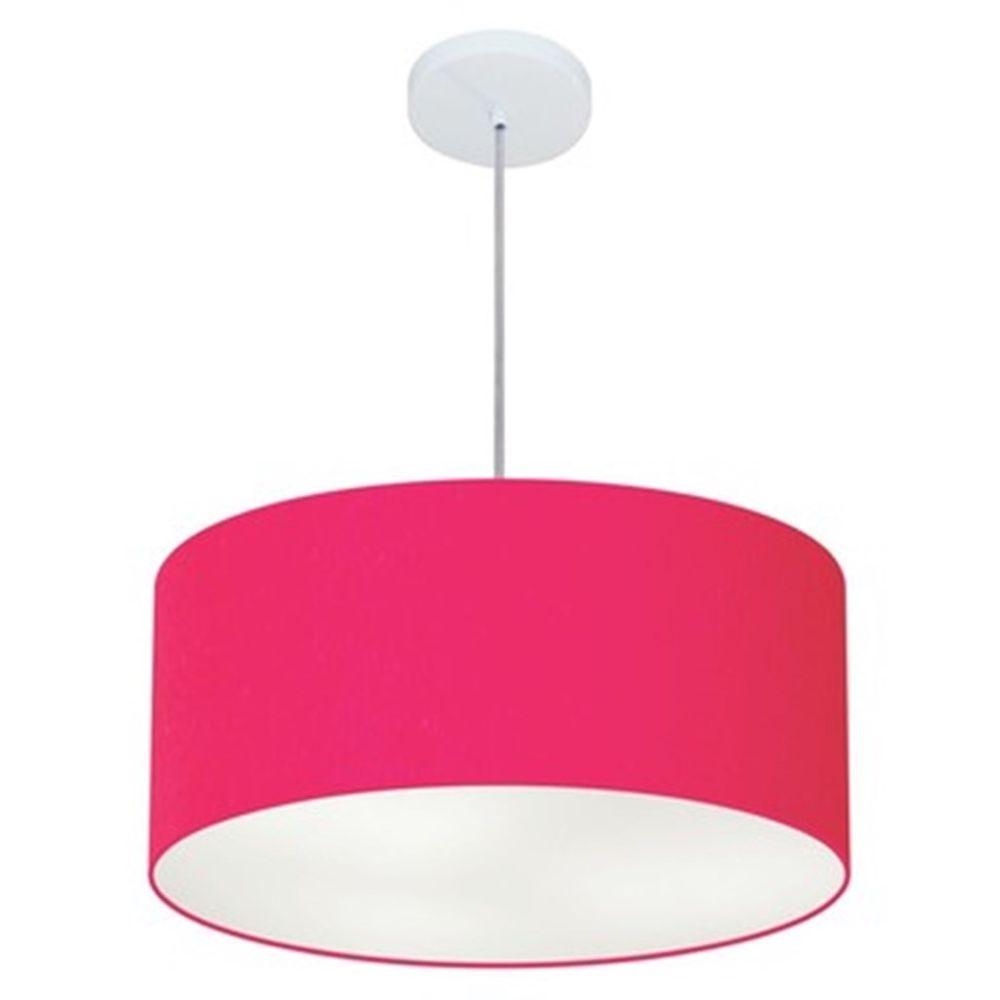 Lustre Pendente Cilíndrico Md-4049 Cúpula em Tecido 50x21cm Rosa Pink - Bivolt