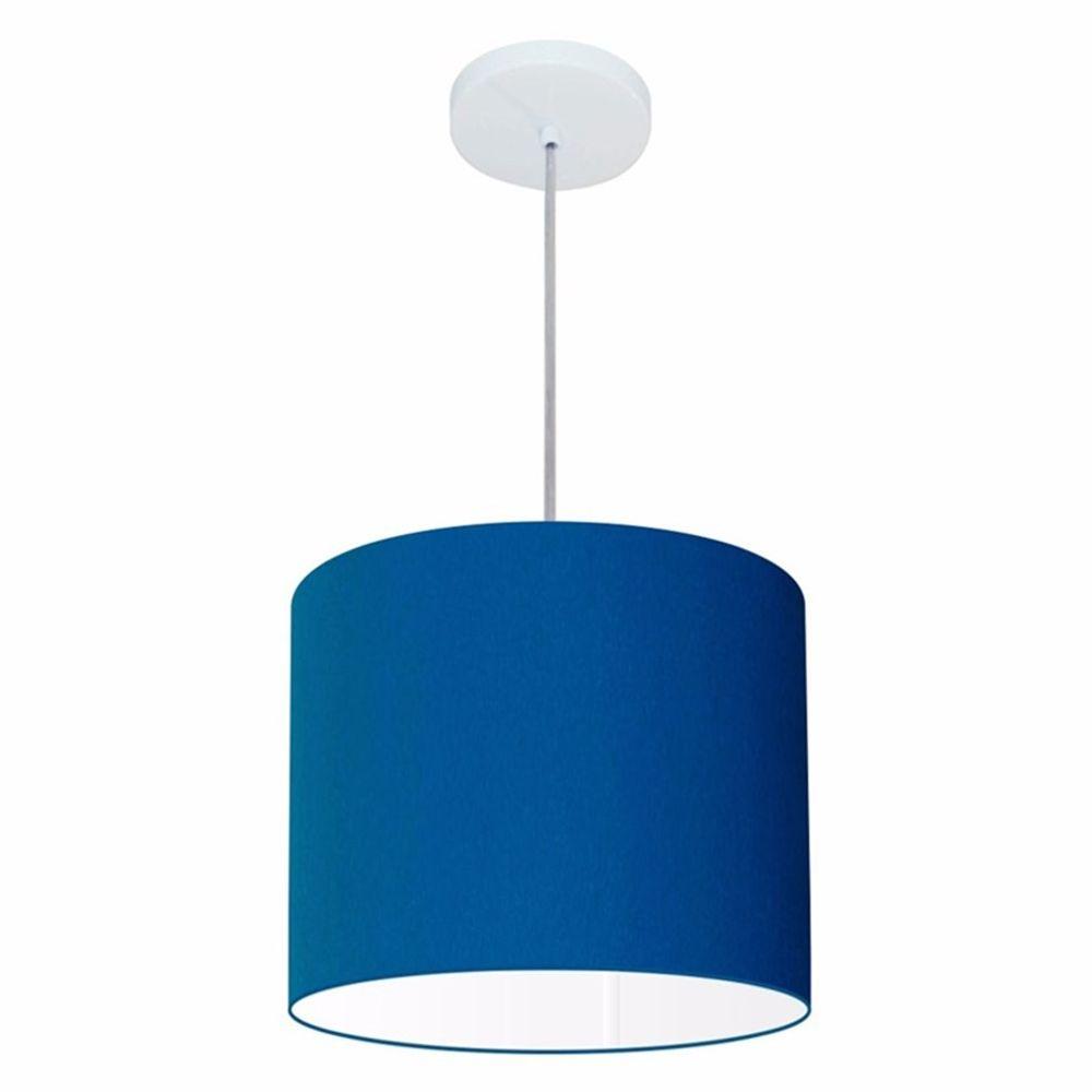 Lustre Pendente Cilíndrico Md-4054 Cúpula em Tecido 30x21cm Azul Marinho - Bivolt