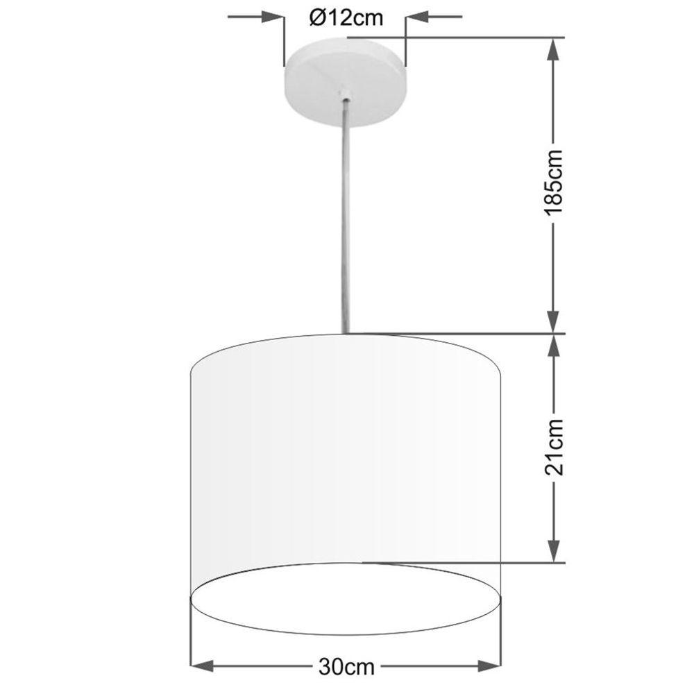 Lustre Pendente Cilíndrico Md-4054 Cúpula em Tecido 30x21cm Rosa Bebê - Bivolt