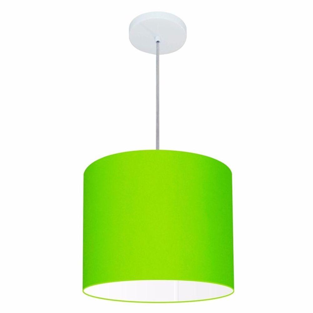 Lustre Pendente Cilíndrico Md-4054 Cúpula em Tecido 30x21cm Verde Limão - Bivolt