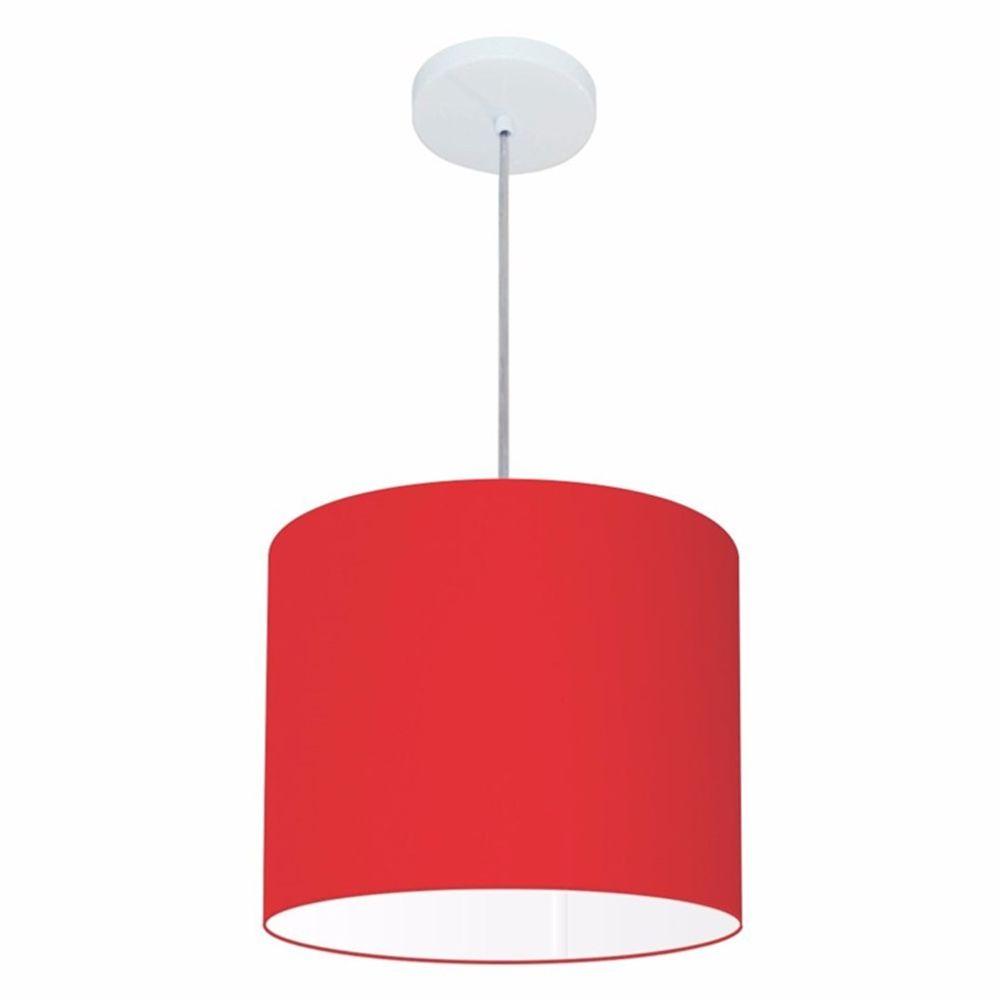 Lustre Pendente Cilíndrico Md-4054 Cúpula em Tecido 30x21cm Vermelho - Bivolt