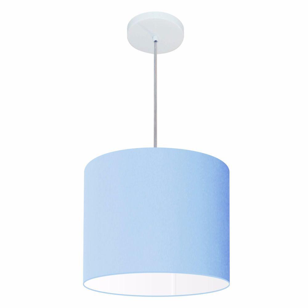 Lustre Pendente Cilíndrico Md-4054 Cúpula em Tecido 30x21cm Azul Bebê - Bivolt