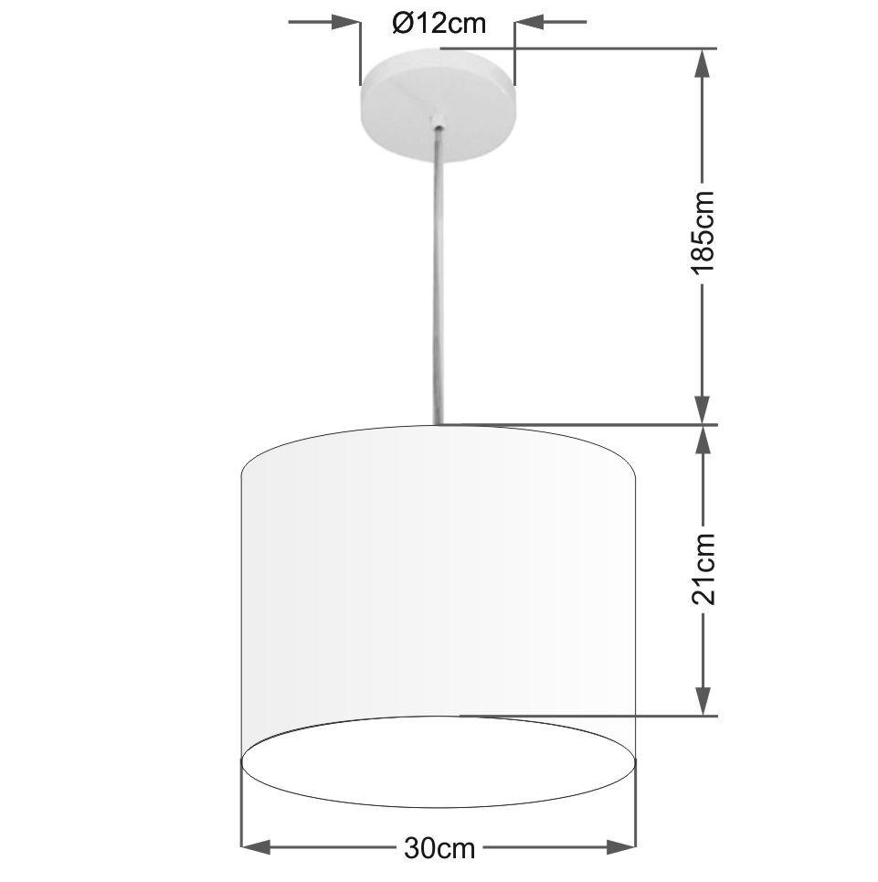 Lustre Pendente Cilíndrico Md-4054 Cúpula em Tecido 30x21cm Linho Bege - Bivolt