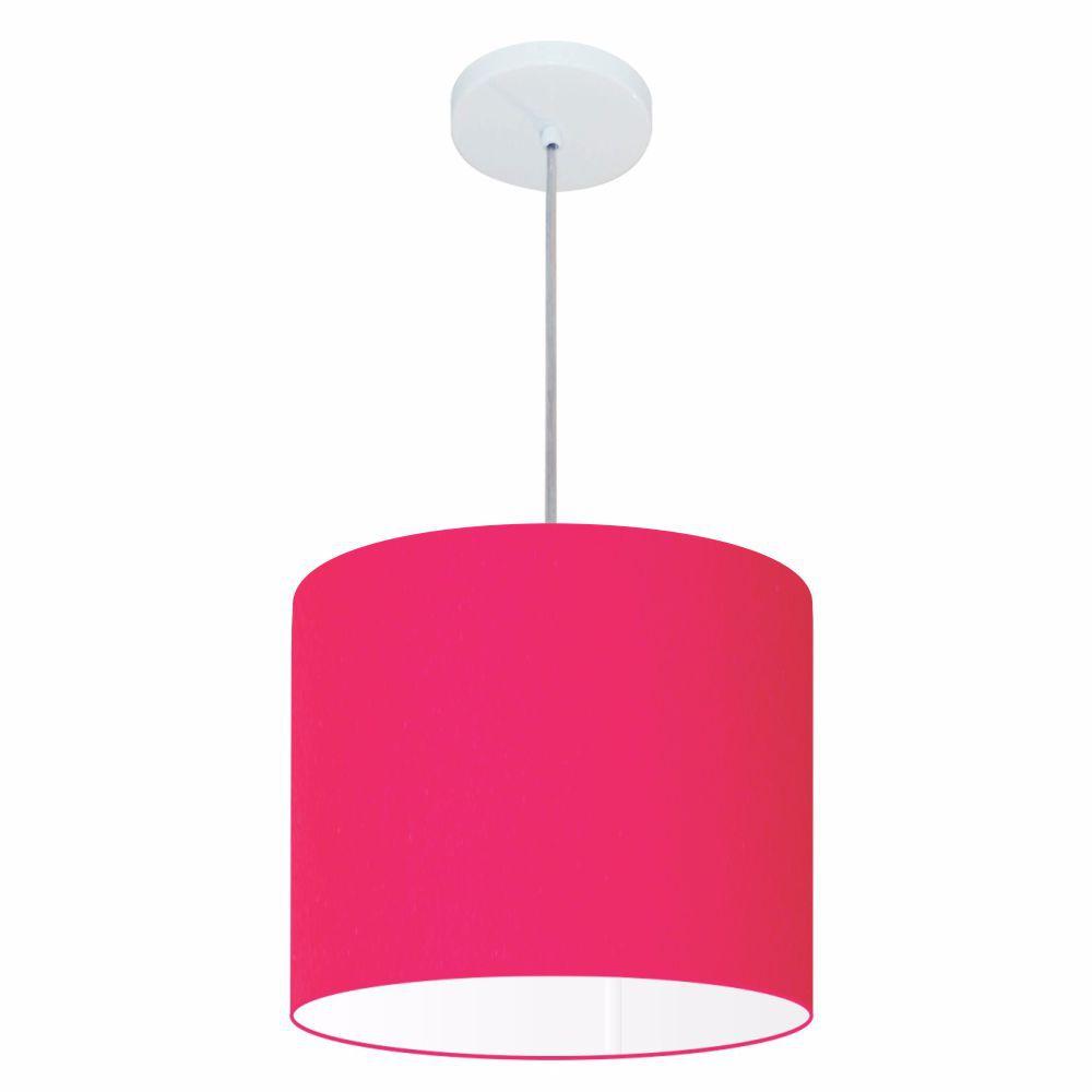 Lustre Pendente Cilíndrico Md-4054 Cúpula em Tecido 30x21cm Rosa Pink - Bivolt