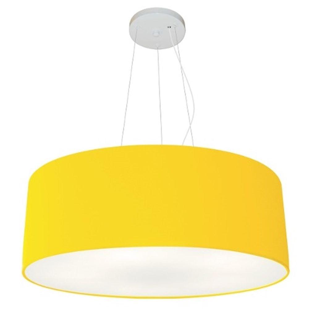 Lustre Pendente Cilíndrico Md-4070 Cúpula em Tecido 80x30cm Amarelo - Bivolt