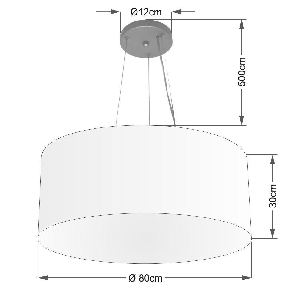 Lustre Pendente Cilíndrico Md-4070 Cúpula em Tecido 80x30cm Branco - Bivolt
