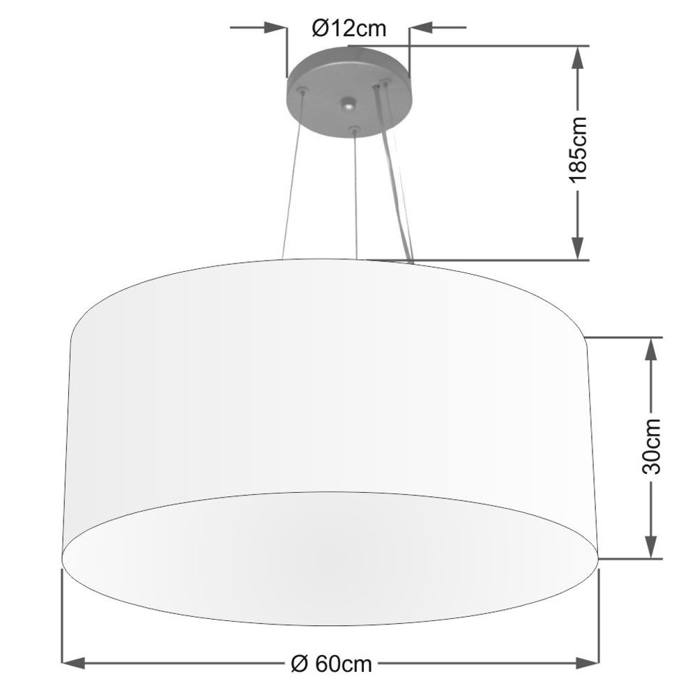Lustre Pendente Cilíndrico Md-4074 Cúpula em Tecido 60x30cm Branco - Bivolt