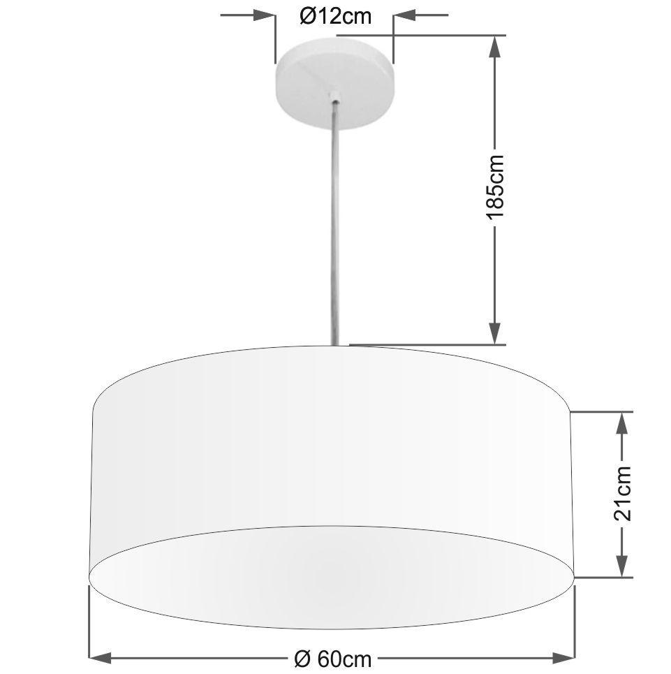 Lustre Pendente Cilíndrico Md-4079 Cúpula em Tecido 60x21cm Branco - Bivolt